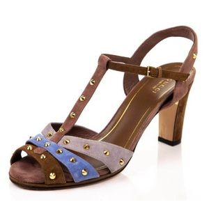 Gucci suede studded Jacquelyn T-strap sandal